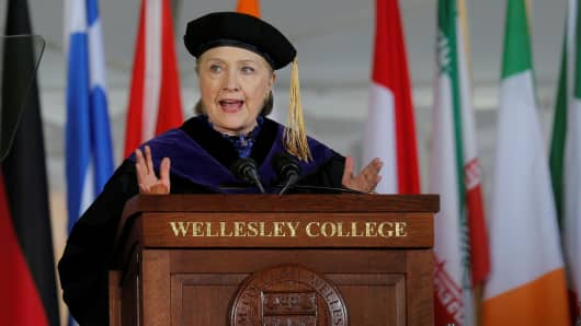 Former U.S. Secretary of State Hillary Clinton delivers the Commencement Address at Wellesley College in Wellesley, Massachusetts, U.S., May 26, 2017.