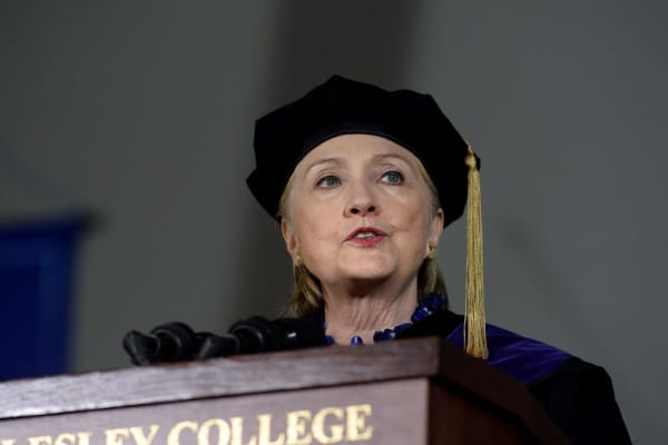 Hillary Clinton speaks at commencement at Wellesley College May 26, 2017.