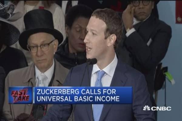 Zuckerberg calls for universal basic income