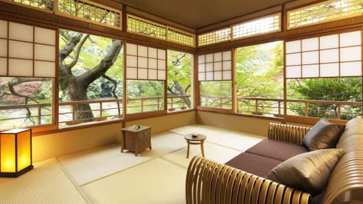 A guestroom in Hoshinoya Kyoto.