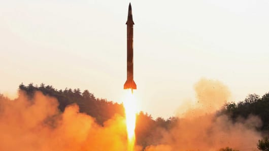 A ballistic rocket is test-fired through a precision control guidance system in this undated photo released by North Korea's Korean Central News Agency (KCNA) May 30, 2017.