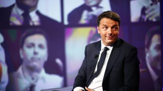 PD Secretary Matteo Renzi attends the 'L'Arena' TV show at Cinecitta Studios on May 14, 2017 in Rome, Italy.