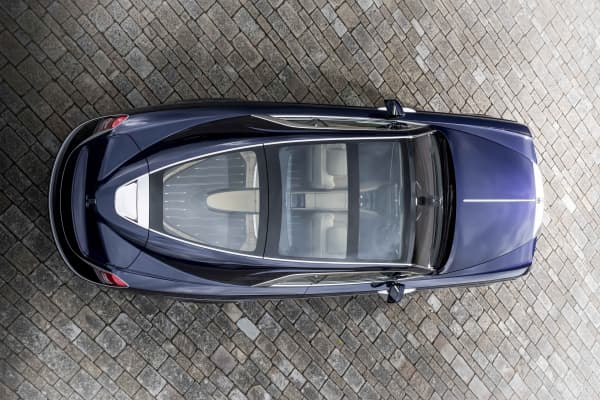 "Bird's eye view of the custom ""Sweptail"" Rolls-Royce"