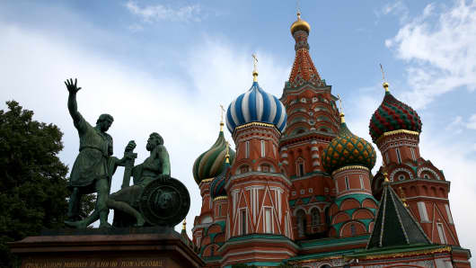 A general view is seen of St Basil's Cathedral in Red Square ahead of the IAAF World Championships on August 6, 2013 in Moscow, Russia