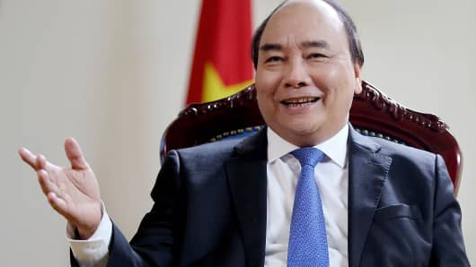 Nguyen Xuan Phuc, Vietnam's prime minister, speaks during an interview in Hanoi, Vietnam, on Saturday, May 27, 2017.