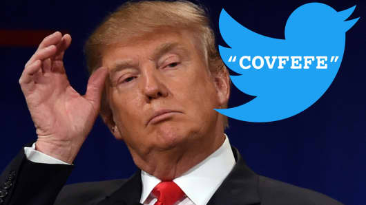 "The Tweeter-in-Chief baffles the twittersphere with new word ""covfefe""."
