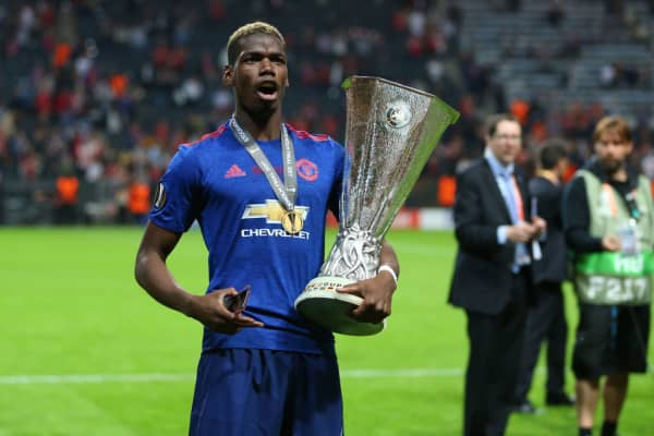 Paul Pogba of Manchester United celebrates after winning the Europa League on May 24, 2017