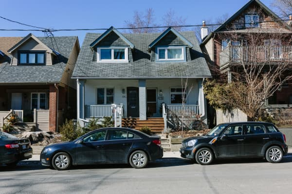 Two family homes stand in the Leslieville neighborhood of Toronto, Ontario, Canada. Jheon's house is not pictured.