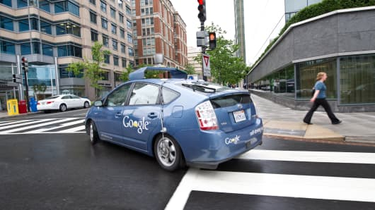 The Google self-driving car maneuvers through the streets of in Washington, DC.