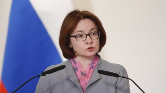 Russian Central Bank Governor Elvira Nabiullina addresses an extended meeting of the Russian Finance Ministry's Board.