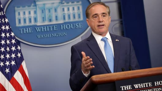 U.S. Veterans Affairs Secretary David Shulkin talks to reporters in the Brady Press Briefing Room at the White House May 31, 2017 in Washington, DC.