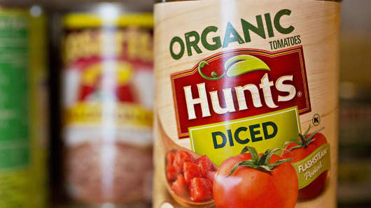 A can of ConAgra Foods Inc. Hunts brand organic diced tomatoes is arranged for a photograph.
