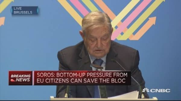 Bottom-up pressure from EU citizens can save the bloc: Soros