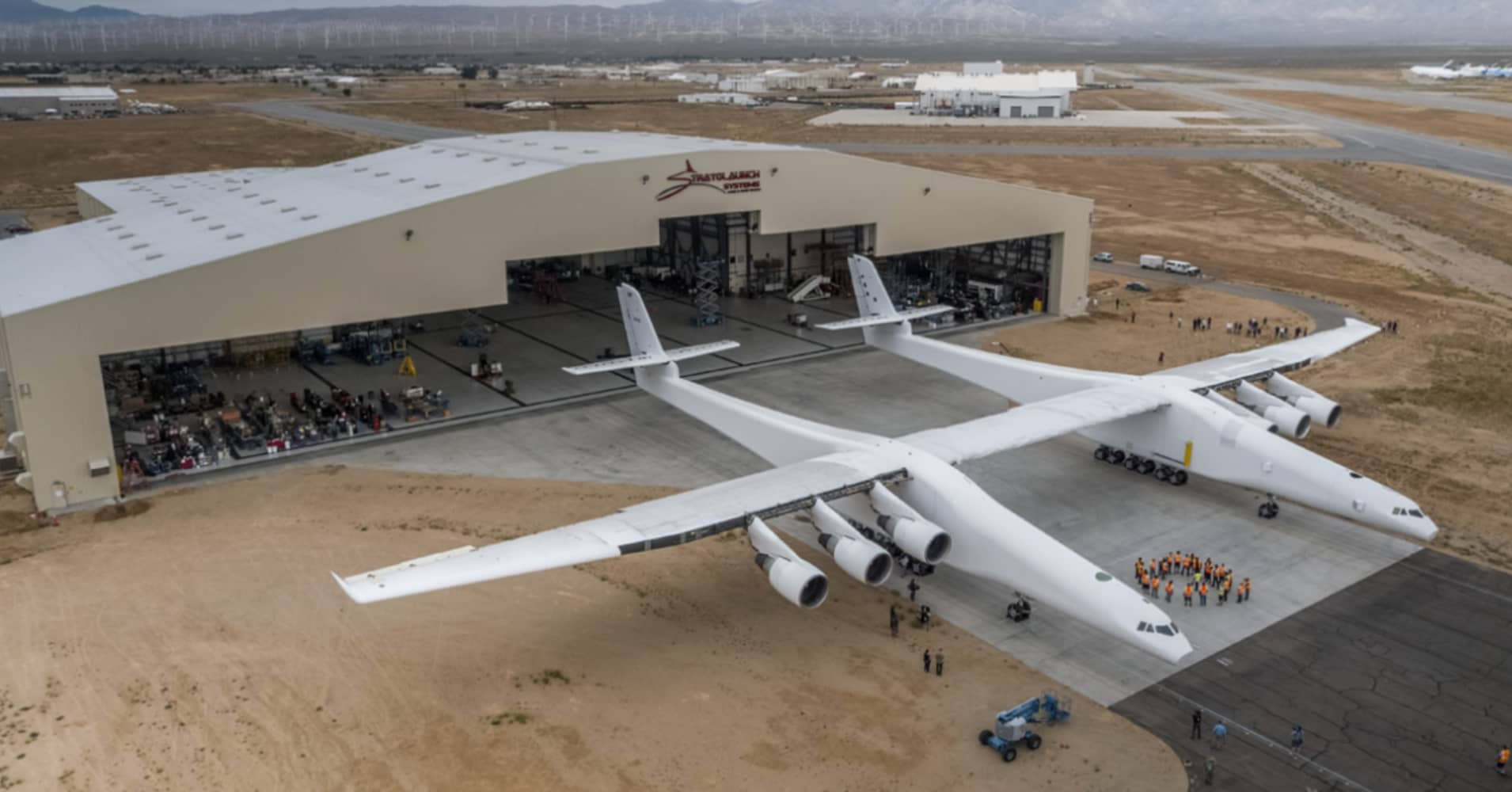 Stratolaunch, the world's largest airplane and built to launch rockets, takes first flight