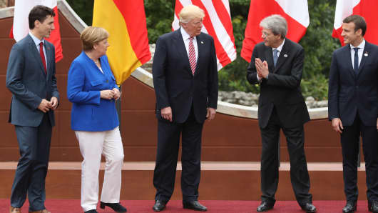 Canadian Prime Minister Justin Trudeau, German Chancellor Angela Merkel, U.S. President Donald Trump, Italian Prime Minister