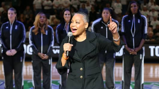 WNBA President Lisa Borders during the 20@20 ceremony honoring the top players in WNBA history, during halftime of Game 1 between the Minnesota Lynx and the Los Angeles Sparks during the WNBA Finals on October 9, 2016 at Target Center in Minneapolis, Minnesota.