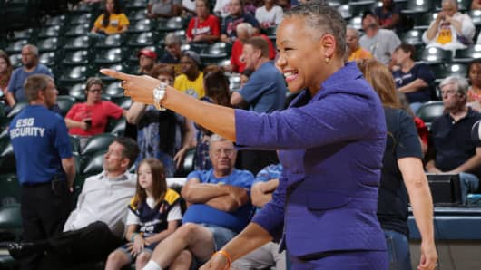 WNBA President Lisa Borders is seen before the game between the Phoenix Mercury and the Indiana Fever on August 30, 2016 at Bankers Life Fieldhouse in Indianapolis, Indiana.