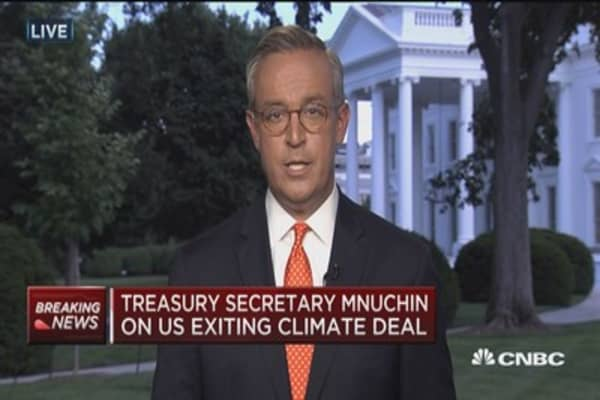 Mnuchin: Withdrawing is not about the environment