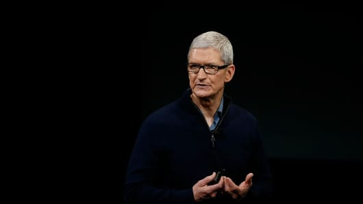 Apple CEO Tim Cook speaks during a product launch event on October 27, 2016, in Cupertino, California.