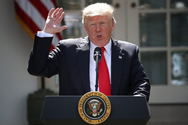U.S. President Donald Trump speaks in the Rose Garden at the White House on June 1, 2017 in Washington DC.