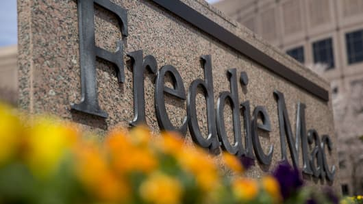 A Freddie Mac sign stands outside the company's headquarters in McLean, Virginia, U.S., on Tuesday, April 8, 2014