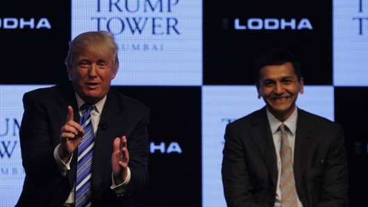 Abhishek Lodha (R), managing director of Lodha Group, pictured with Donald Trump at the launch of Trump Tower in Mumbai, India on August 12, 2014.