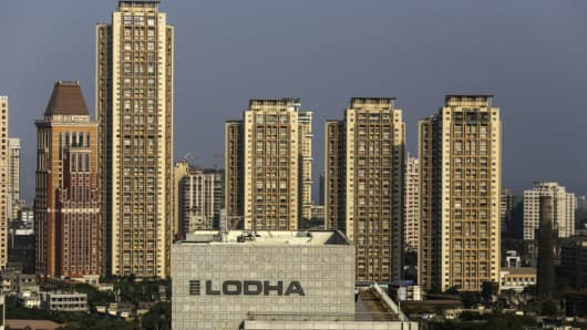 The logo of Lodha Developers is seen on the exterior of one of the company's developments in Mumbai, India on April 24, 2017.