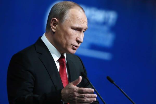 Russia's President Vladimir Putin speaks on June 2, 2017 in St. Petersburg, Russia.