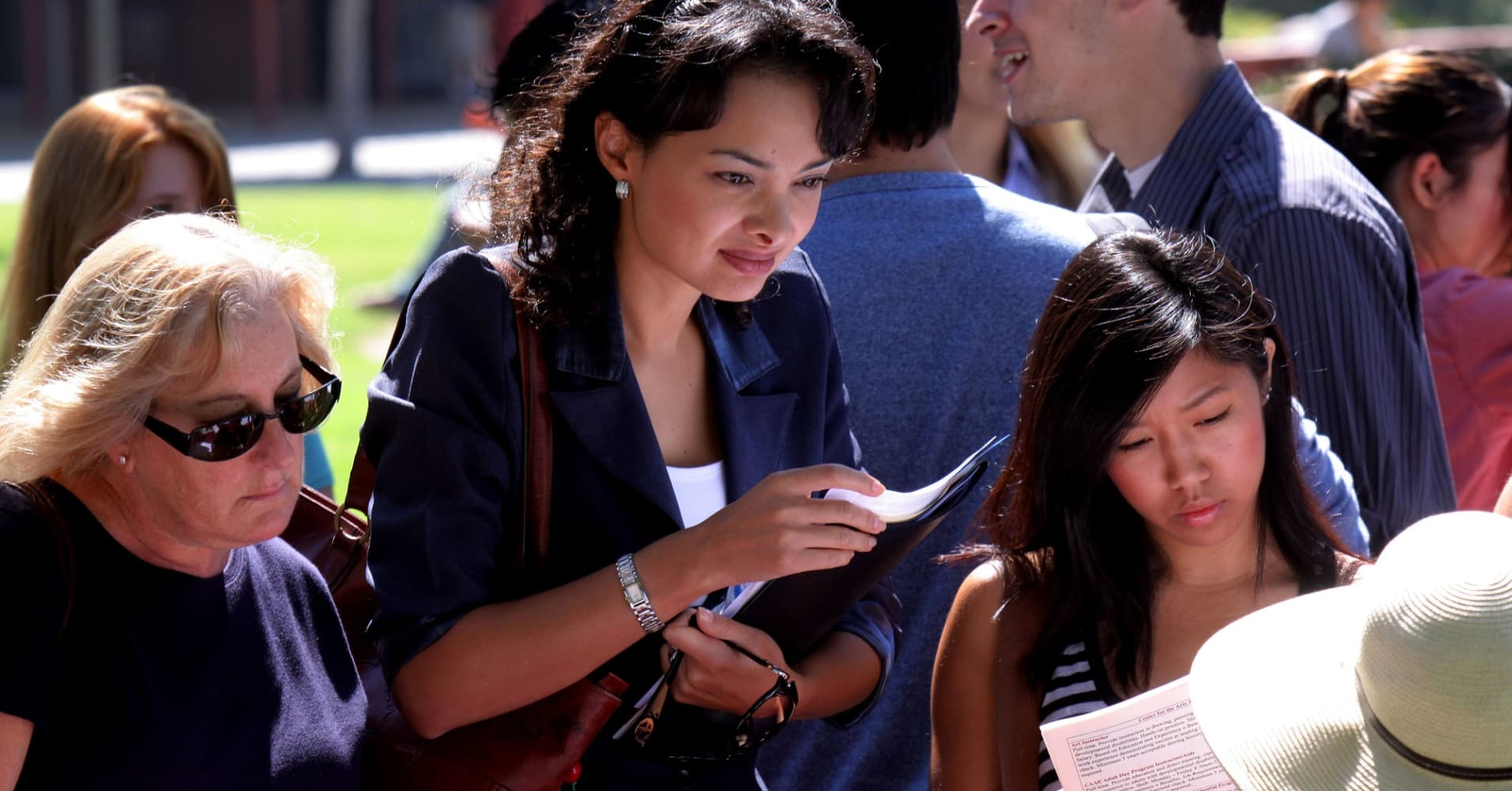 Job seekers at an employment fair in San Marcos, Calif.