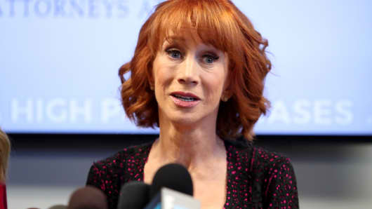 Kathy Griffin is holding the press conference after a controversial photoshoot where she was holding a bloodied mask depicting President Donald Trump and to address alleged bullying by the Trump family.
