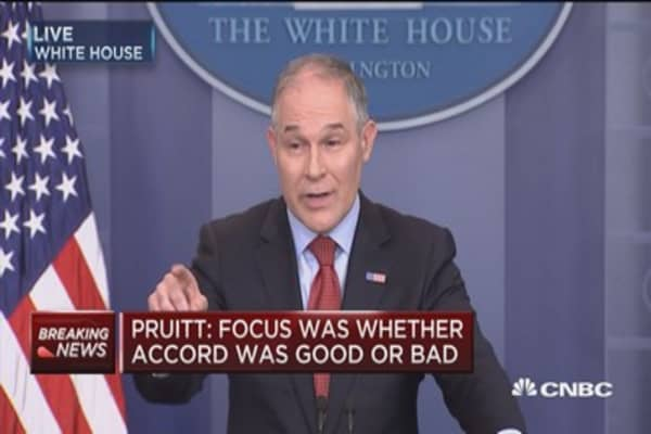 Pruitt: Focus was whether Paris accord was good or bad