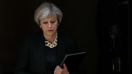 Theresa May, U.K. prime minister, leaves number 10 Downing Street to make a statement on the terror attack in London, U.K., on Sunday, June 4, 2017.