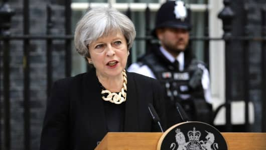 Britain's Prime Minister Theresa May speaks outside 10 Downing Street after an attack on London Bridge and Borough Market left 7 people dead and dozens injured in London, Britain, June 4, 2017.
