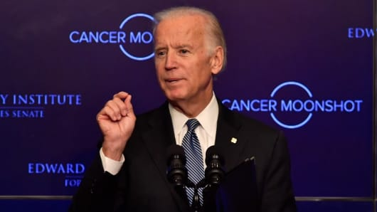 Through the National Cancer Moonshot initiative, former Vice President Joe Biden is pushing to achieve a decades' worth of progress in five years in the prevention, diagnosis and treatment of cancer.