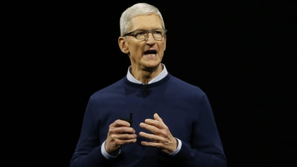 Tim Cook, CEO, speaks during Apple's annual world wide developer conference (WWDC) in San Jose, California, U.S. June 5, 2017.