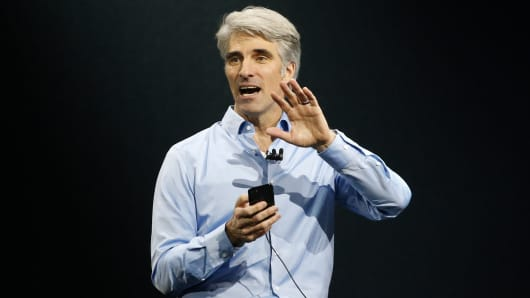 Craig Federighi, Senior Vice President Software Engineering speaks during Apple's annual world wide developer conference (WWDC) in San Jose, California, U.S. June 5, 2017.