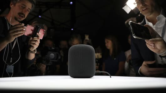 A prototype of Apple's new HomePod is displayed during the 2017 Apple Worldwide Developer Conference (WWDC) at the San Jose Convention Center on June 5, 2017 in San Jose, California.