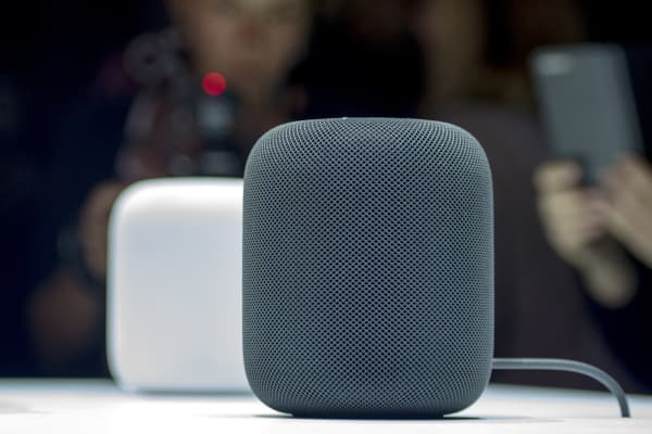 New Apple HomePod smart speaker are on display during Apple's Worldwide Developers Conference in San Jose, California, on June 05, 2017.