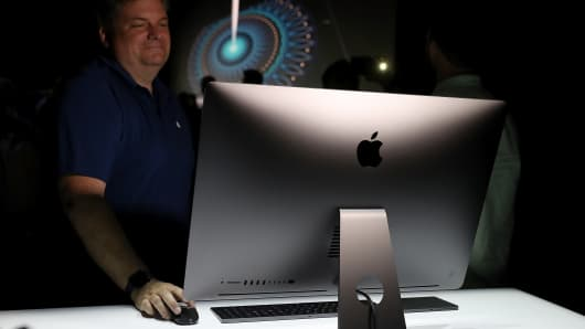 The new iMac Pro is displayed during the 2017 Apple Worldwide Developer Conference (WWDC) at the San Jose Convention Center on June 5, 2017 in San Jose, California.