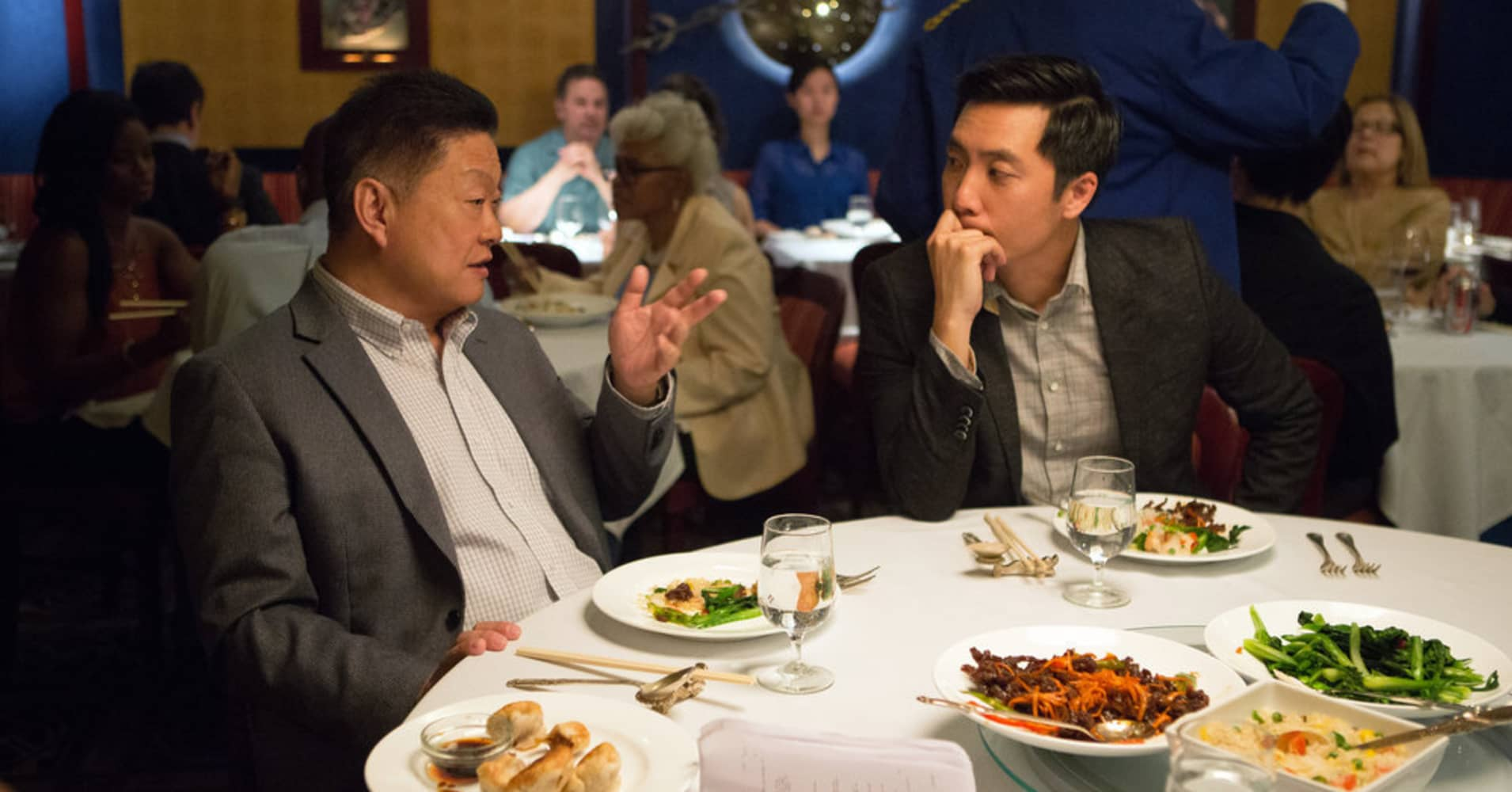 "MASTER OF NONE -- ""Parents"" Episode 102 -- Pictured: (l-r) Clem Cheung as Peter, Kelvin Yu as Brian (Photo by: KC Bailey/Universal Television)"