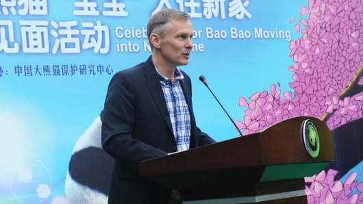 David H. Rank, Deputy Chief of Mission of the U.S. Embassy Beijing, speaks during the celebration for Bao Bao moving into new home at the Dujiangyan base of the China Conservation and Research Center for Giant Pandas on March 24, 2017 in Chengdu, China.