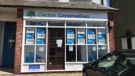 The campaign headquarters of Clacton's Conservative candidate, Giles Watling.
