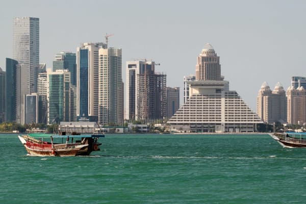 Buildings are seen on a coast line in Doha, Qatar June 5, 2017.
