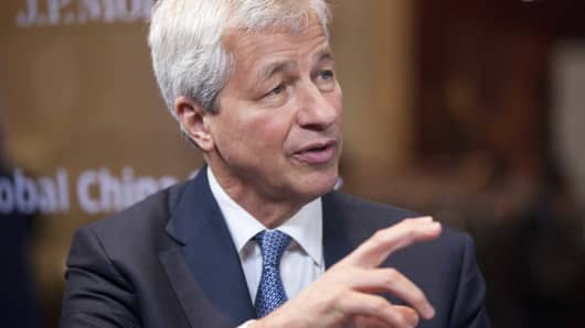 Jamie Dimon, chief executive officer of JPMorgan Chase & Co., speaks during an interview on the sidelines of the JP Morgan Global China Summit in Beijing, China, on Monday, June 5, 2017.