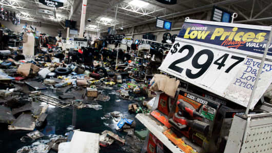 Merchandise litters the floors of a WalMart store after floodwaters receded September 11, 2005 in St. Bernard Parish, Louisiana.