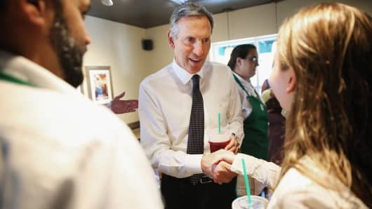Starbucks CEO Howard Schultz comforts and greets employees in Charleston, South Carolina in the wake of a shooting that left nine people dead at Emanuel African Methodist Episcopal Church.