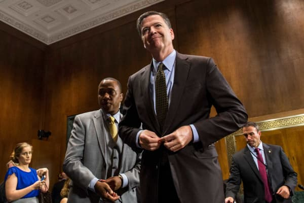 Then-director of the Federal Bureau of Investigation, James Comey leaves after testifying in front of the Senate Judiciary Committee on Capitol Hill, May 3, 2017