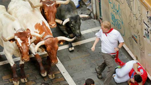 Bulls running during the San Fermin Running of the Bulls festival on July 9, 2016 in Pamplona, Spain.