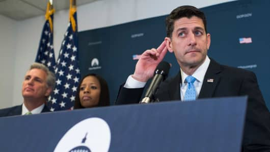 Speaker of the House Paul Ryan, R-Wis., conducts a news conference after a meeting of the House Republican Conference in the Capitol on June 7, 2017. House Majority Leader Kevin McCarthy, R-Calif., and Rep. Mia Love, R-Utah., also appear.