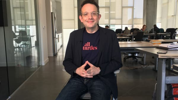 Investor Phil Libin in the offices of All Turtles, an incubator for artificial intelligence start-ups, in May 2017.